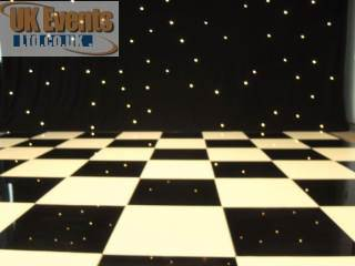 Black and White chequered Dance Floor Hire
