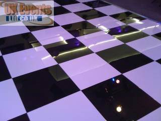 black and white sprung portable dancefloors