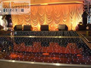 London Hire a black starlit pea light LED dance floor for your function or party