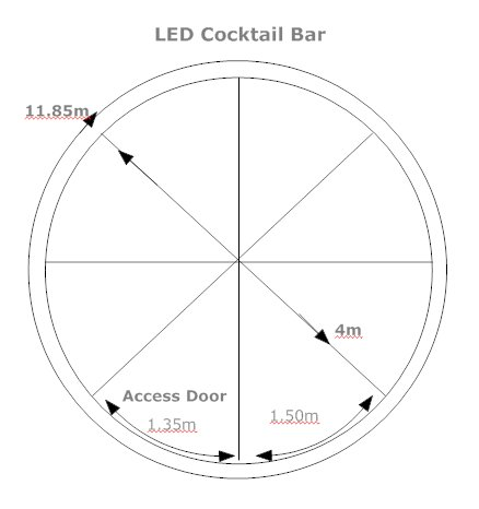 Hire a round LED bar hire and colour changing furniture