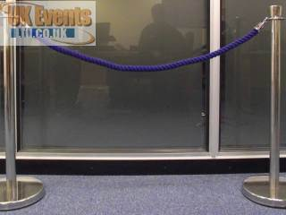 blue ropes and silver Stanchion