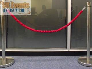red ropes and silver Stanchion