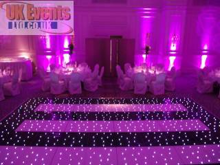 Pink uplighters hired for a Birthday Party