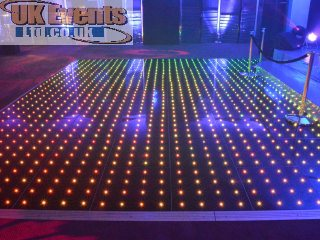 purple wash white twinkling floor hire