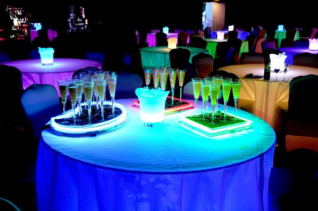Illuminated colour changing LED 5ft banquet table hire.