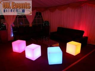 Illuminated colour changing LED cubes.