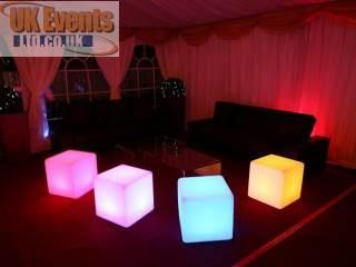 Illuminated colour changing LED cubes.