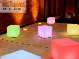 Hire LED vibrant coloured cubes