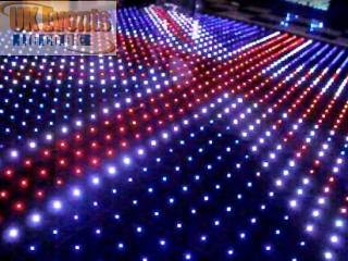 black LED floor with white starlit stripes