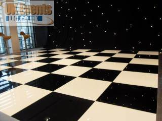 Black and white floor with starcloth