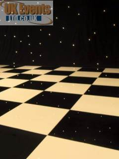 Black and white dance flooring for hire in Chester